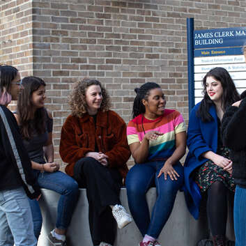 Group of students outside physics building