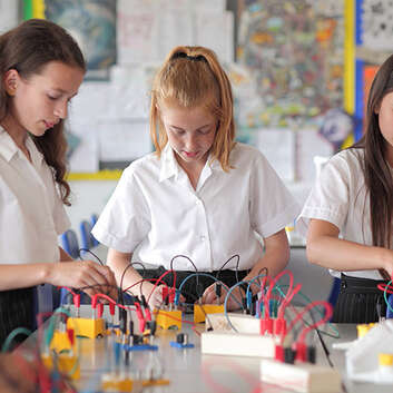 Students in a physics classroom