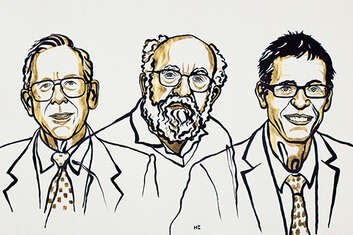 Illustration of the three 2019 Nobel Prize for Physics winners.