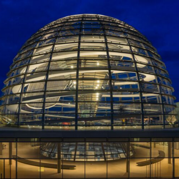 A glass dome at the European Organization for Nuclear Research.