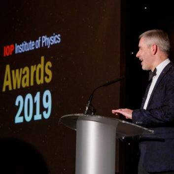 Paul Hardaker at podium at 2020 Awards dinner