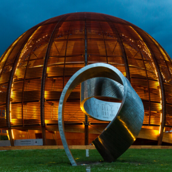 The outside of the CERN building in early evening.