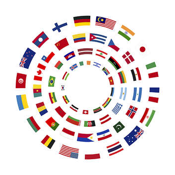 Flags of the world arranged in a circle