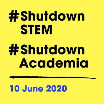 #shutdownSTEM on yellow background
