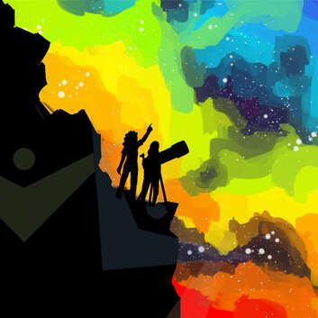 Silhouette of people using telescope with multicoloured background