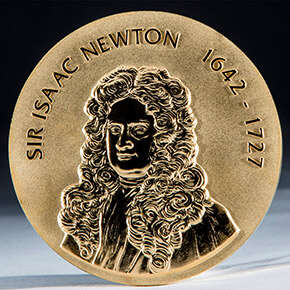 Medal reads: Sir Isaac Newton 1642 to 1727