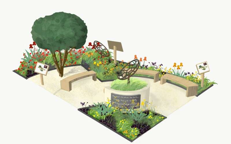 A colour image of the plan of the redshift garden. A tree in the top, left hand corner, one metal satellite shaped structure next to it and another at the opposite end of the garden. Red, orange and yellow flowers arranged in borders around the edges, three benches and light coloured gravel in the centre area.