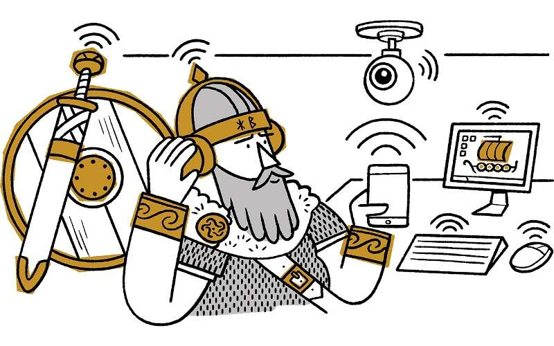 Illustration of a viking with various modern devices such as mobile phone