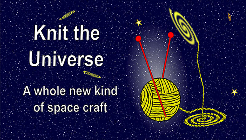 Knit the Universe logo with a ball of wool and knitting needles