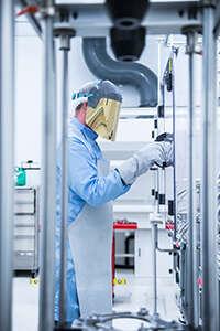 A male scientist in cadmium zinc telluride production